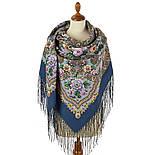 Красавица 1914-3, павлопосадский платок из уплотненной шерсти с шелковой вязаной бахромой, фото 2