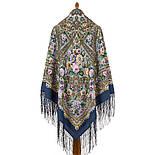 Красавица 1914-3, павлопосадский платок из уплотненной шерсти с шелковой вязаной бахромой, фото 3