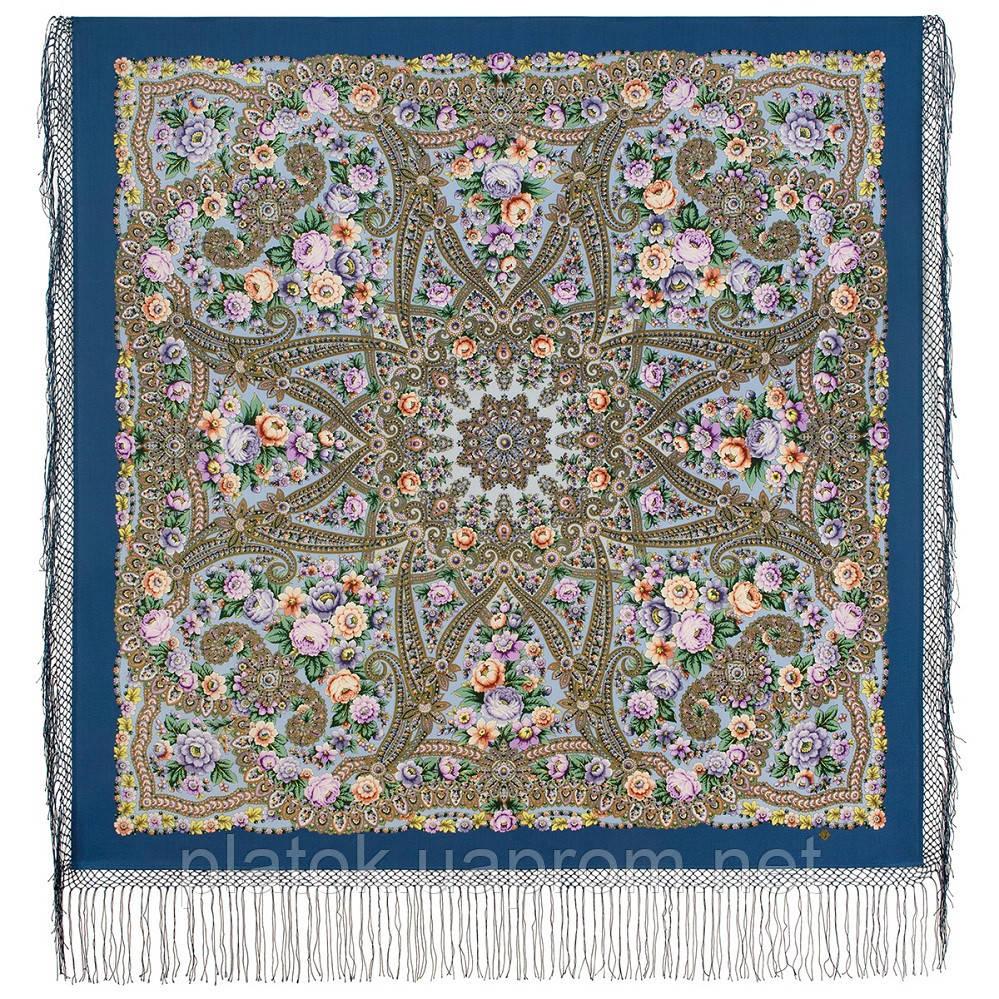 Красавица 1914-3, павлопосадский платок из уплотненной шерсти с шелковой вязаной бахромой