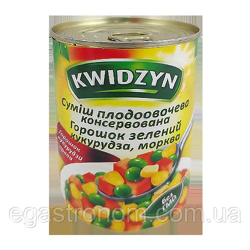 Суміш з горошку, моркви і кукурудзи KWIDZYN 400/240g 6 шт/ящ (Код : 00-00004670)