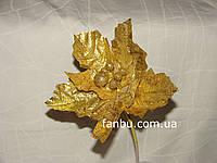 Золотой декоративный цветок из плотной ткани с блестками (d=23 см)