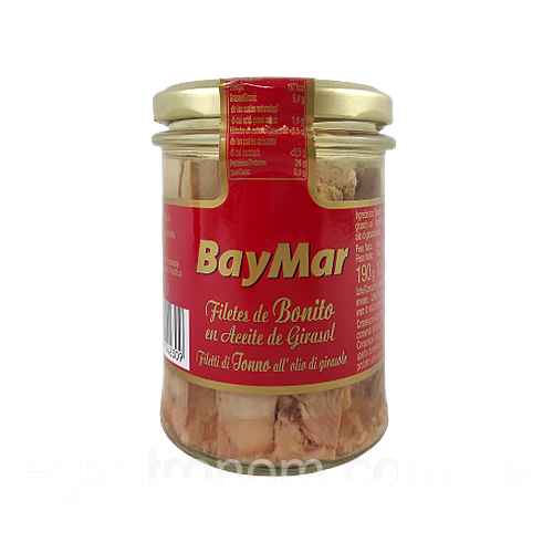 Філе тунця Беймар в соняшниковій олії Baymar 125/190g 12шт/ящ (Код : 00-00003752)