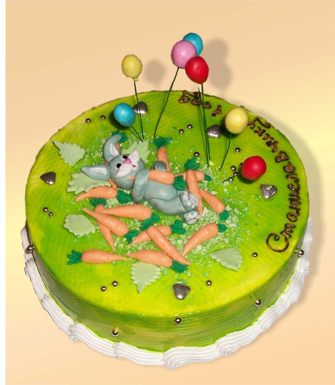 """Детский  торт на заказ """"Зайка и морковка"""""""