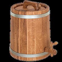 Жбан дубовый 15 л для вина, коньяка (оцинкованный обруч), Дубовые бочки, Для напитков, Украина, 15