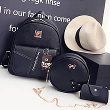 Женский рюкзак 3в1, экокожа PU (чёрный)