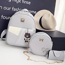 Женский рюкзак 3в1, экокожа PU (серый)
