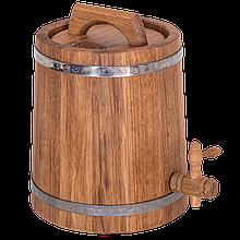 Жбан дубовый 5 л для вина, коньяка (нержавеющий обруч), Дубовые бочки, Для напитков, Украина, 5