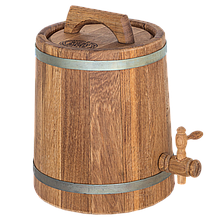 Жбан дубовый 5 л для вина, коньяка (оцинкованный обруч), Дубовые бочки, Для напитков, Украина, 5