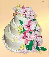 """Свадебный торт на заказ """"Свадебные цветы"""""""