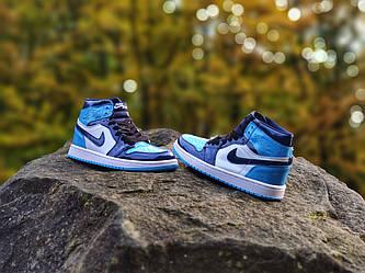 Nike Air Jordan 1 Blue Black (Топ якість) Осінь-Весна, Кроссівки, взуття