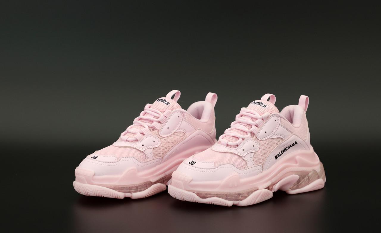Женские розовые Кроссовки Balenciaga Triple S
