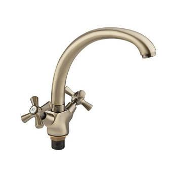 Двухвентильный латунный смеситель для кухни цвет бронза Q-tap Liberty ANT 273F