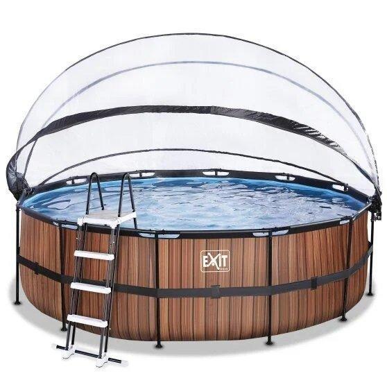 Каркасний круглий басейн Exit з куполом 450x122 дерево (фільтр картридж), Каркасні басейни, Кругла,