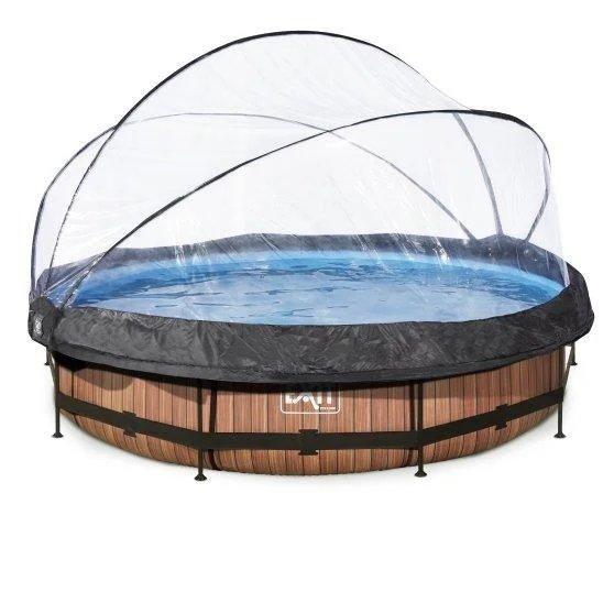 Каркасный бассейн круглый Exit с куполом 360x76 дерево, Каркасные бассейны, Круглая, 360x76, Нидерланды
