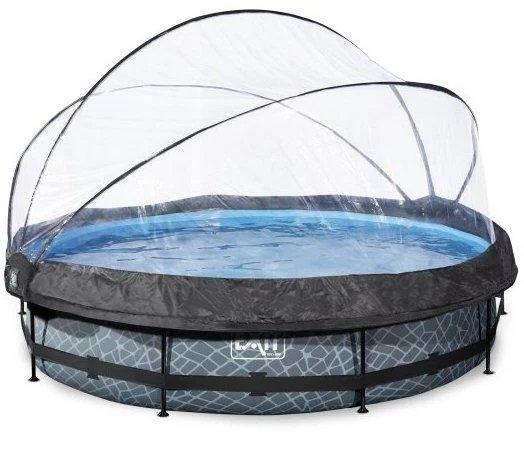Каркасний круглий басейн Exit з куполом 360x76 камінь, Каркасні басейни, Кругла, 360x76, Нідерланди