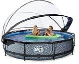 Каркасний круглий басейн Exit з куполом 360x76 камінь, Каркасні басейни, Кругла, 360x76, Нідерланди, фото 4