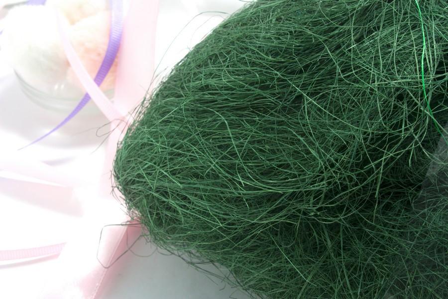 Сизаль натуральная (волокна сизаля) 100грамм Цвет - ИЗУМРУДНЫЙ