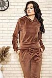Спортивный костюм женский велюровый с капюшоном (коричневый, хаки, р.XS), фото 2