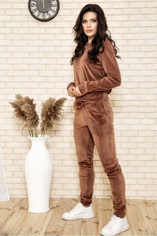 Спортивный костюм женский велюровый с капюшоном (коричневый, хаки, р.XS)