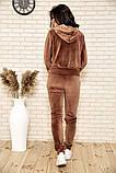 Спортивный костюм женский велюровый с капюшоном (коричневый, хаки, р.XS), фото 3