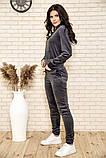 Спортивный костюм женский велюровый с капюшоном (коричневый, хаки, р.XS), фото 5