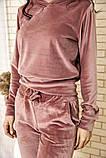 Спортивный костюм женский велюровый с капюшоном (коричневый, хаки, р.XS), фото 10