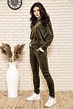 Спортивный костюм женский велюровый с капюшоном (коричневый, хаки, р.XS), фото 7