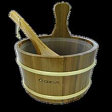 Набір Greus кедр (зграя 4 л + черпак) з пластиковою вставкою для лазні та сауни, Україна