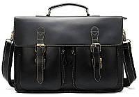 Портфель мужской из кожи на плечо Vintage 14878 Черный