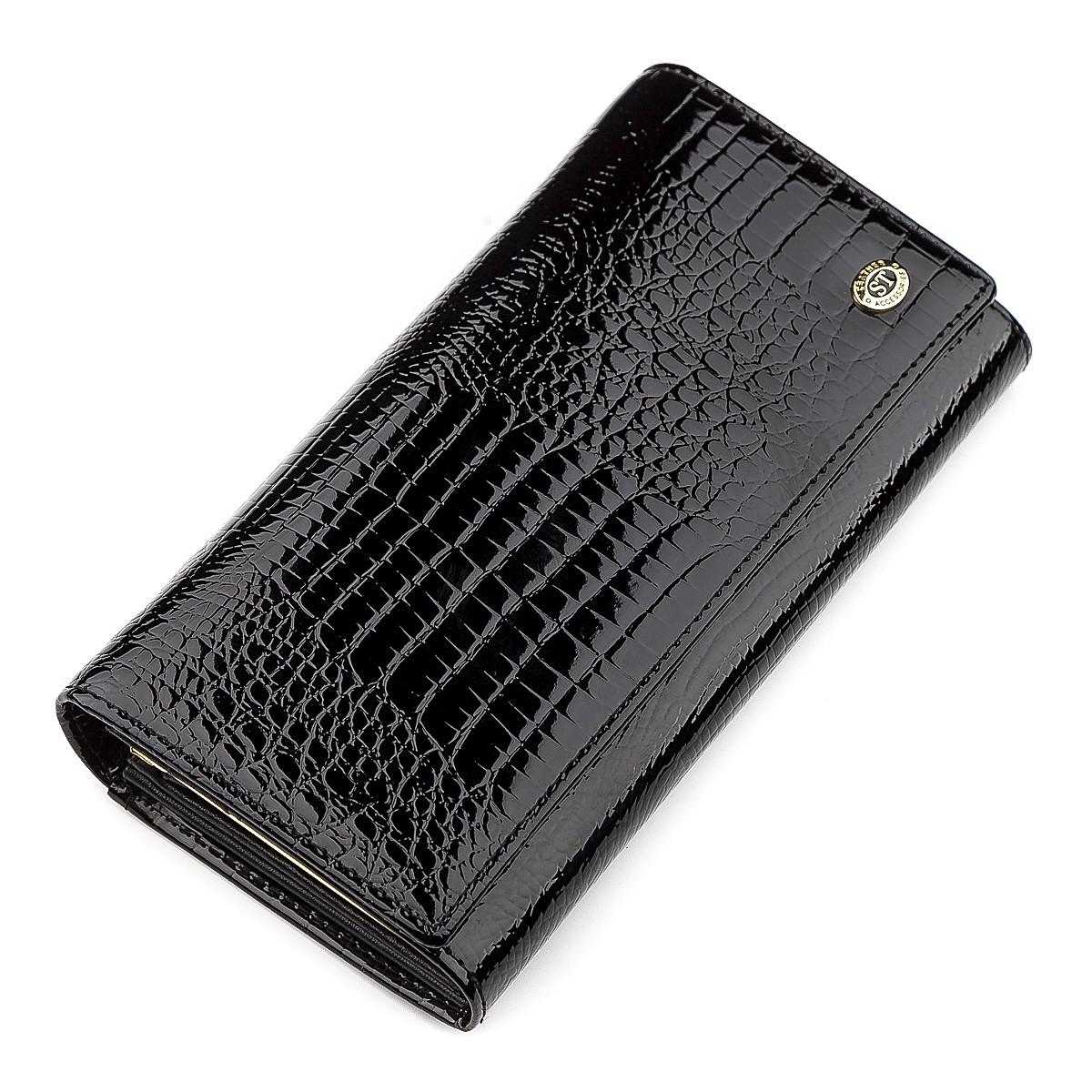 Гаманець жіночий ST Leather 18426 (S6001A) шкіряний Чорний, Чорний