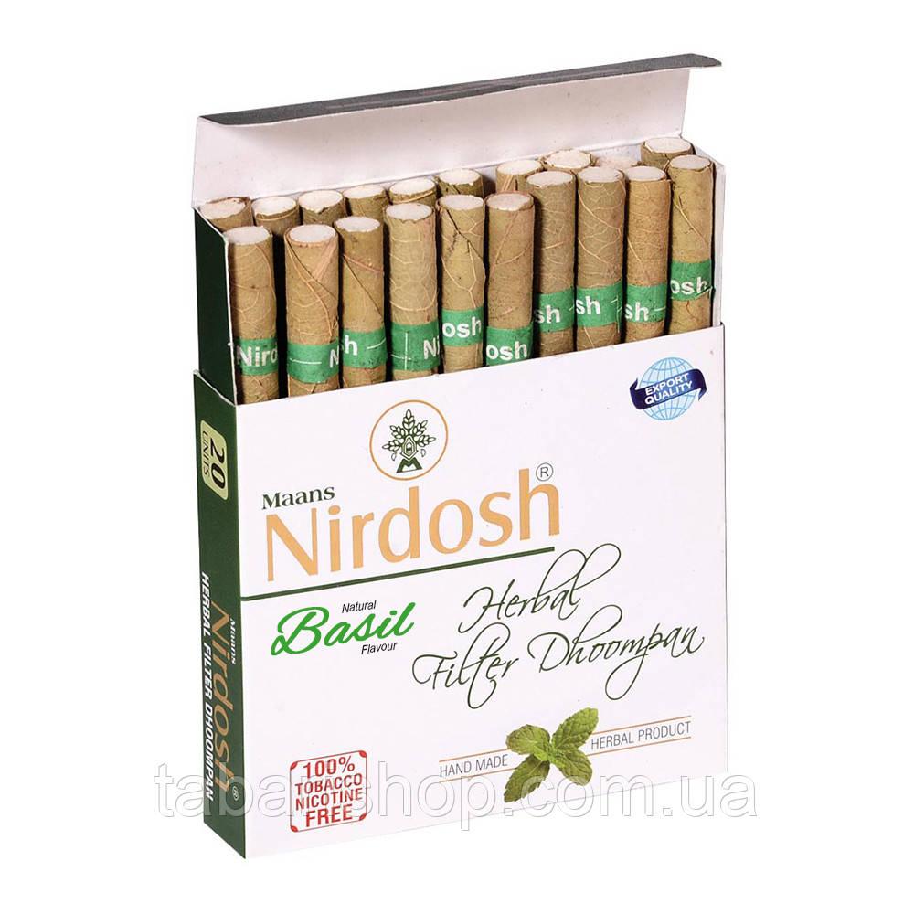 Нирдош трав'яні сигарети з фільтром з ароматом базиліка, Herbal Filter Dhoompan Basil, 20шт