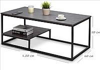 Журнальный столик в стиле Лофт 1200х600х500, ЖС02, фото 1