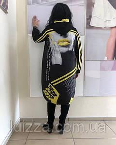 Женский модный кардиган с принтом Турция 58 - 66 р, черный/желтый