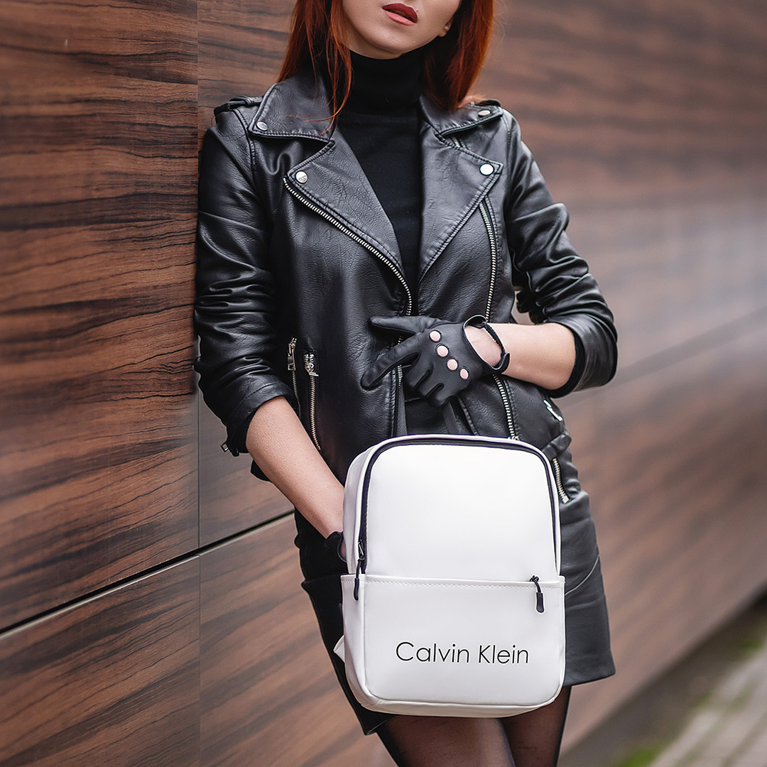 Стильный женский мини рюкзак Calvin Klein эко-кожи, модный мини рюкзачок для девушек, цвет белый