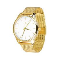 Часы Ziz Золотым по белому, ремешок из нержавеющей стали золото и дополнительный ремешок SKL22-142797