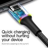 Кабель Baseus со светодиодной подсветкой USB TYPE-C 3A Цвет Чёрный 0,25 метра Быстрая зарядка, фото 6
