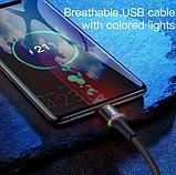 Кабель Baseus со светодиодной подсветкой USB TYPE-C 3A Цвет Чёрный 0,25 метра Быстрая зарядка, фото 7
