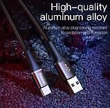 Кабель Baseus со светодиодной подсветкой USB TYPE-C 3A Цвет Чёрный 0,25 метра Быстрая зарядка, фото 9