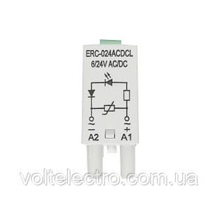 Доп. модуль защиты/индикации ERC-024ACDCL (Uc= 6...24V AC/DC)