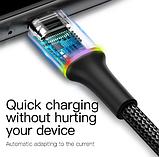 Кабель Baseus со светодиодной подсветкой для iPhone Ligtning 2.4A Цвет Чёрный 0,25 метра Быстрая зарядка, фото 5