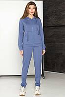 Женский спортивный костюм с капюшоном, трикотажный  (Голубой / бежевый / хаки)