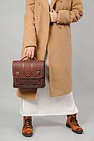Большая кожаная сумка-портфель, бордовая сумка ручной работы из натуральної кожи, фото 1