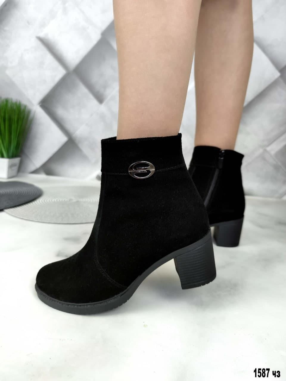 41 р. Ботинки женские деми черные замшевые на среднем каблуке демисезонные из натуральной замши замша