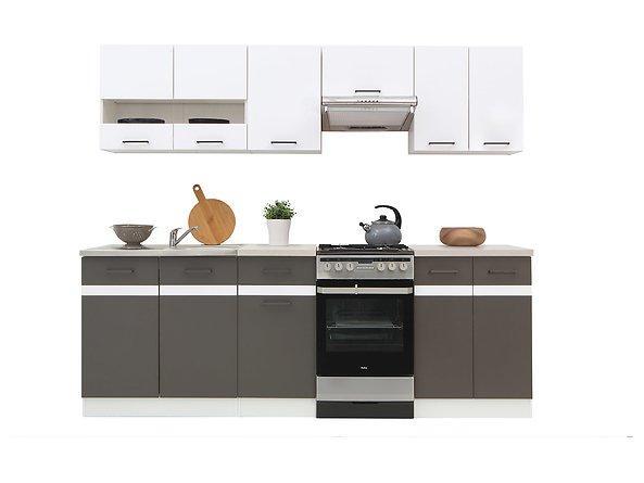 Кухня 240 Junona Line BRW белый/серый вольфрам/белый глянец