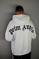 Чоловіча худі, толстовка в стилі Palm Angels біла без флісу, фото 1