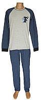 Пижама трикотажная мужская 21005 Tim коттон Серая с темно-синим