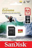 Карта памяти SanDisk 64GB microSDXC C10 UHS-I U3 R160/W60MB/s Extreme V30 + SD