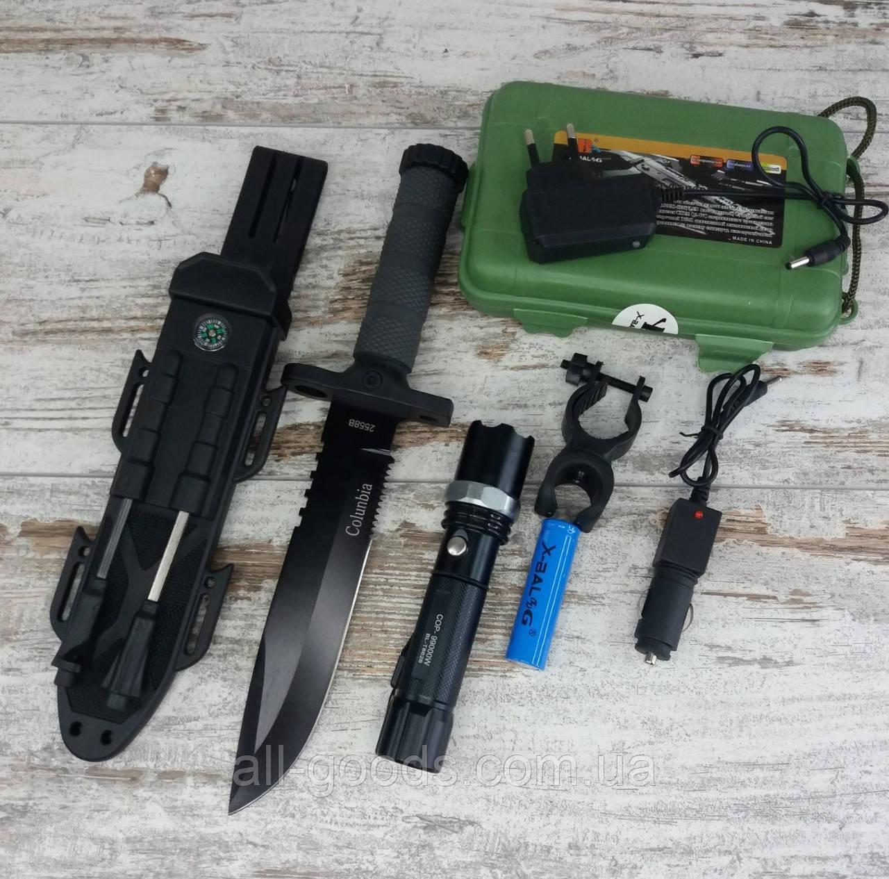 Фонарь X-Balog в комплекте с охотничьим ножом COLUNBIA, ручной аккумуляторный фонарик и нож для туризма