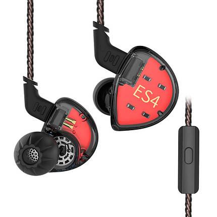 Гібридні навушники KZ ES4 з подвійними драйверами (Чорний), фото 2