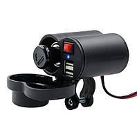 USB мото зарядка на кермо,CS-313F1  2 х USB + прикуриватель , 12-24 V WUPP, на руль